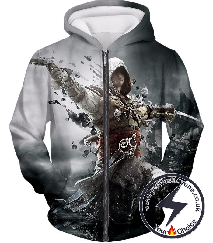 Assassin's Creed Black Flag Hero Edward James Kenway Cool Action Zip Up Hoodie