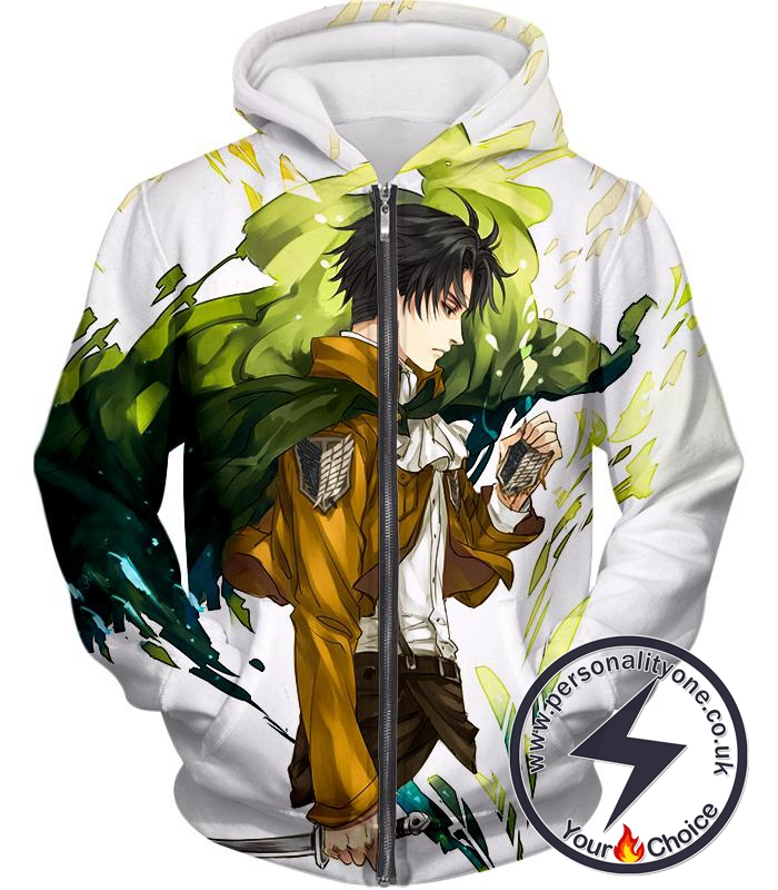 Attack on Titan Awesome Survey Corp Soldier Levi Ackerman Ultimate Anime White Zip Up Hoodie