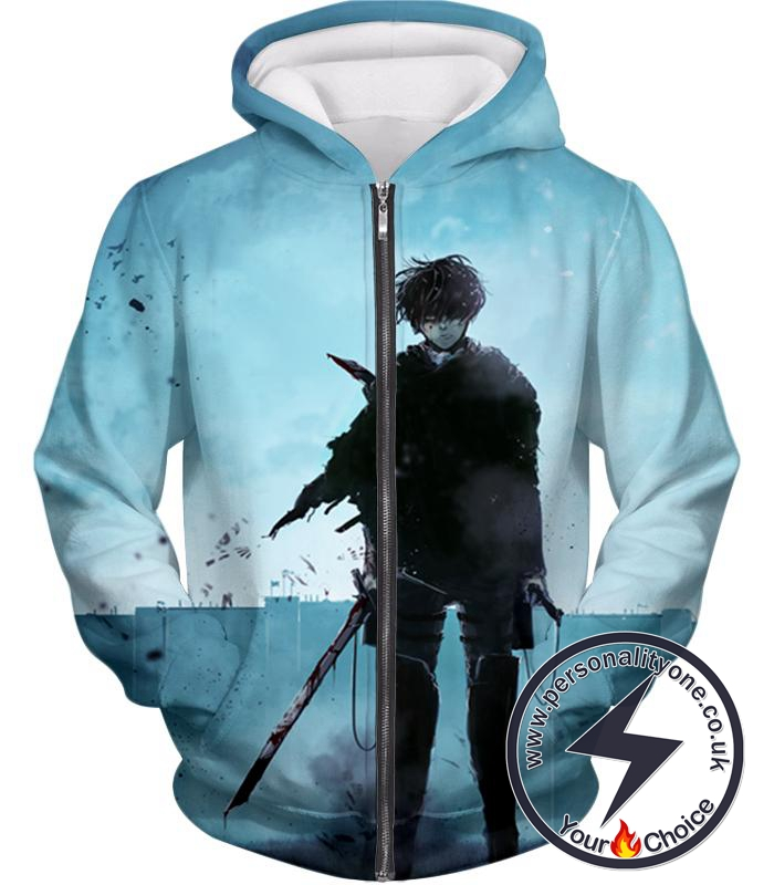 Attack on Titan Deadly Fighter Captain Levi Blue Zip Up Hoodie