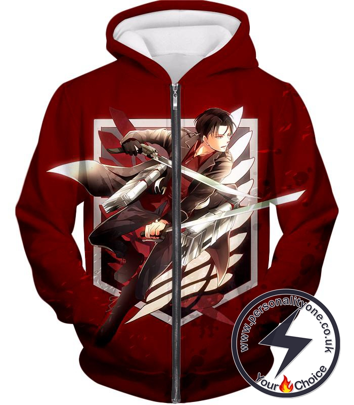 Attack on Titan Humanitys Strongest Soldier Levi Ackerman of Survey Corps Cool Red Zip Up Hoodie