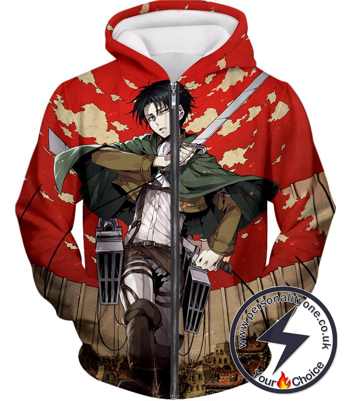 Attack on Titan Incredible Captain Levi Action Anime Promo Zip Up Hoodie