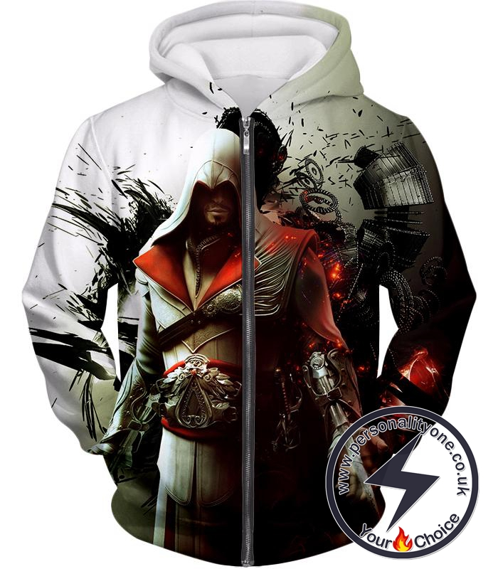 Awesome Assassin Ezio Firenze Super Cool Graphic Promo Zip Up Hoodie