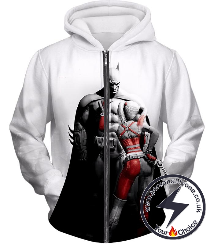 Batman x Harlequin Awesome 3D Graphic White Zip Up Hoodie