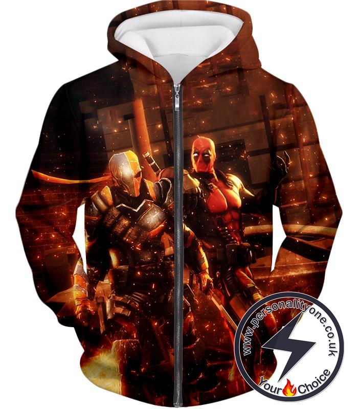 Cool Deadpool and Deathstroke Super Fan Art Zip Up Hoodie