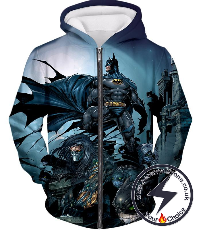 Cool Gotham Warrior Batman Conquering Villains Awesome Animated Zip Up Hoodie