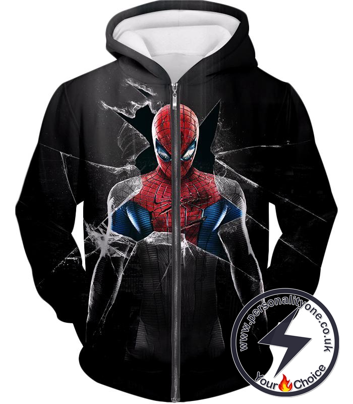 Cool Marvels Spider-Man Black Zip Up Hoodie