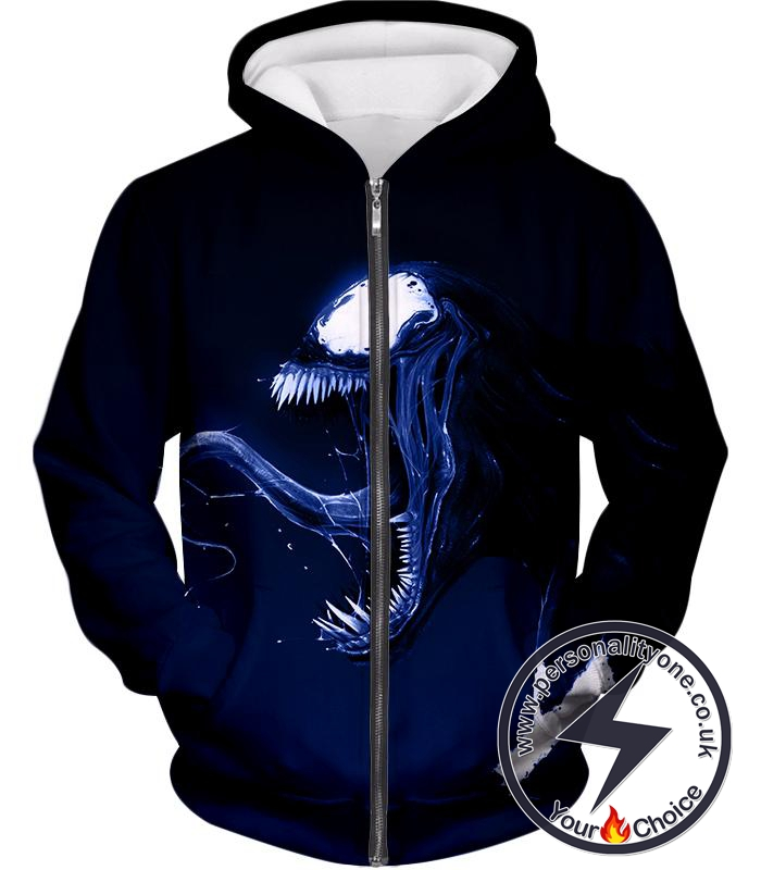 Cool Venom Printed Black Zip Up Hoodie