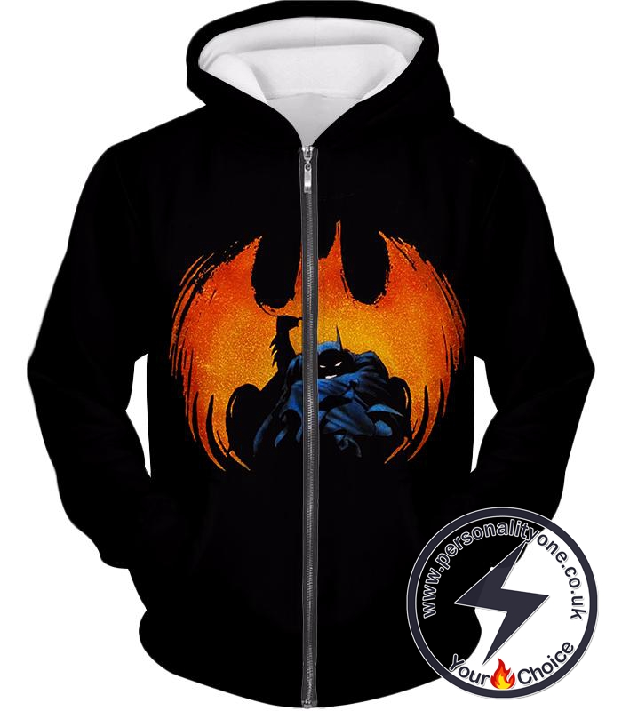 Crime Fighting Superhero Batman Ultimate Promo Black Zip Up Hoodie
