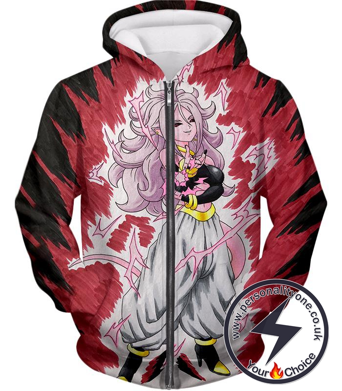 Dragon Ball Super Android 21 Ultimate Evil Form Cool Anime Promo Graphci Zip Up Hoodie