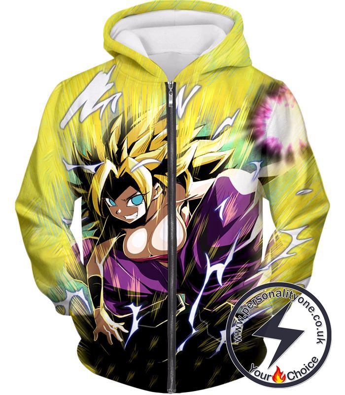 Dragon Ball Super Awesome Action Hero Caulifla Super Saiyan 3 Cool Anime Graphic Zip Up Hoodie