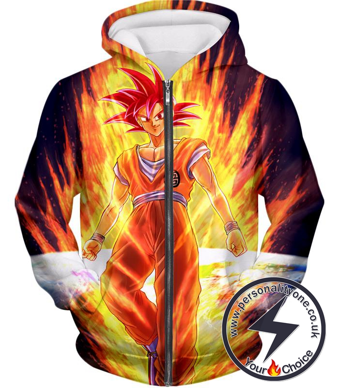 Dragon Ball Super Awesome Anime Art Goku Super Saiyan God Cool Graphic Promo Zip Up Hoodie