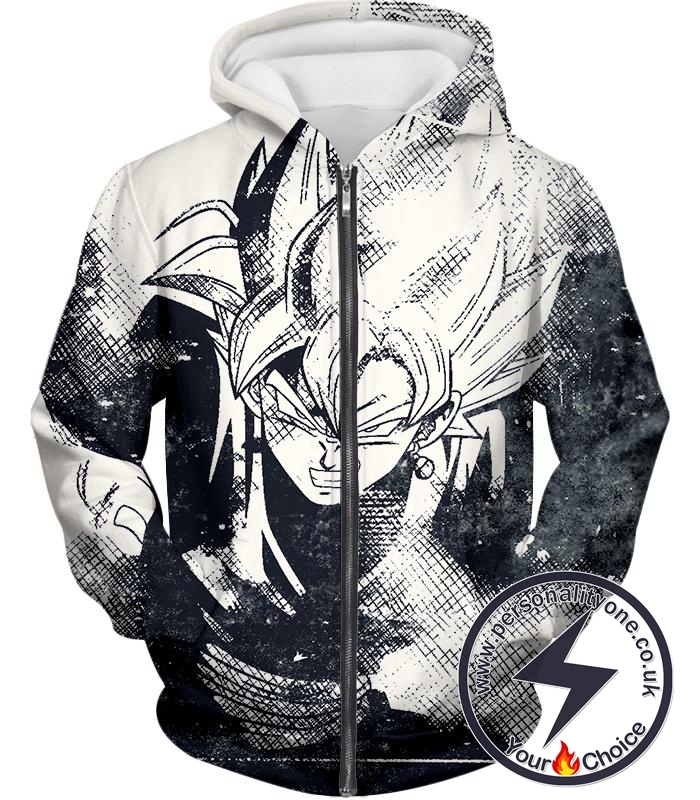 Dragon Ball Super Awesome Dragon Ball Super Villain Zamasu Cool Sketch Promo White Zip Up Hoodie