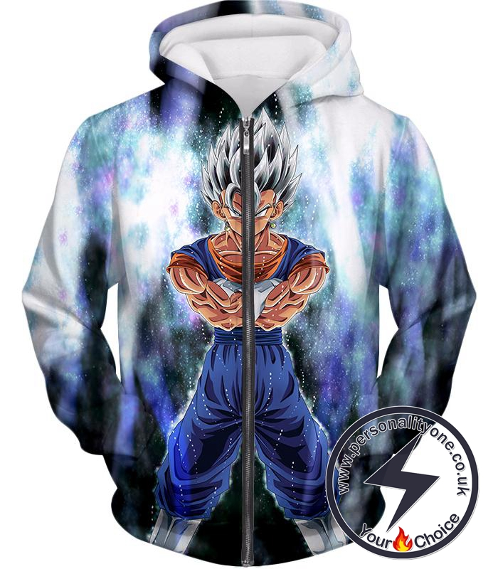 Dragon Ball Super Awesome Fusion Vegito Ultra Instinct Form Cool White Zip Up Hoodie