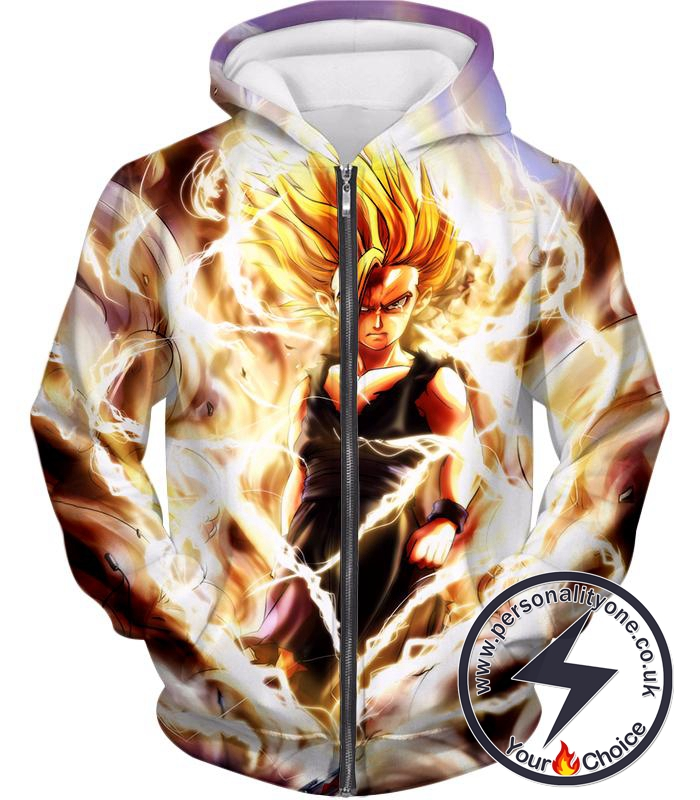 Dragon Ball Super Awesome Gohan Ultimate Super Saiyan 2 Cool Graphic Action Zip Up Hoodie