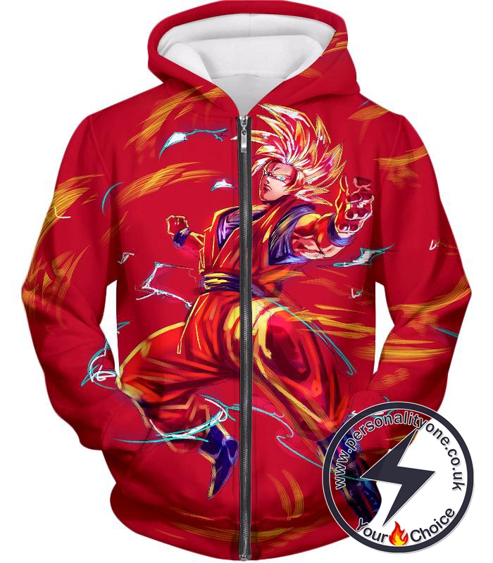Dragon Ball Super Awesome Goku Super Saiyan Action Anime Graphic Zip Up Hoodie