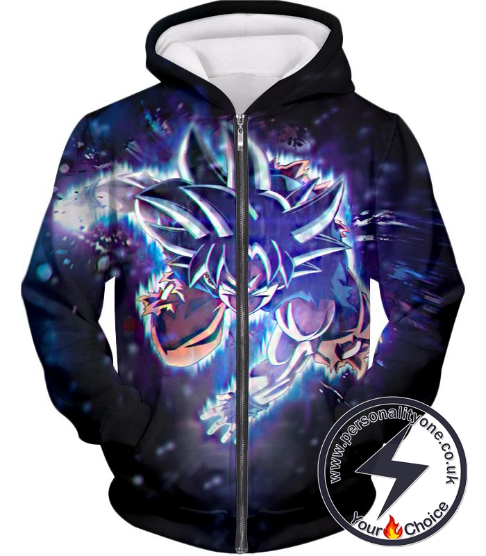 f038ad446 Dragon Ball Super Cool Action Goku Super Saiyan Blue Super Awesome Graphic  Zip Up Hoodie larger image