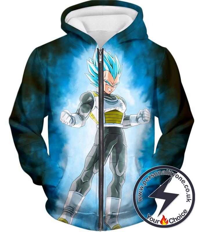 Dragon Ball Super Cool Warrior Prince Vegeta Godly Super Saiyan Blue Form Ultimate Zip Up Hoodie