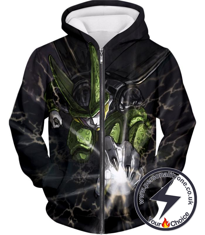 Dragon Ball Super Deadly Regenerating Villain Cell Cool Action Black Zip Up Hoodie