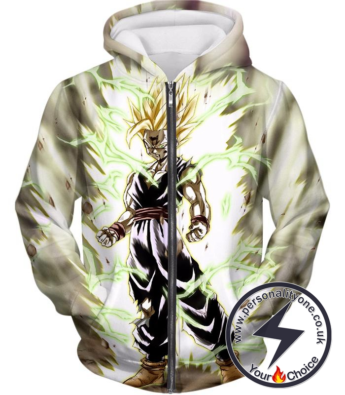 Dragon Ball Super Favourite Fighter Gohan Super Saiyan 2 Awesome Action White Zip Up Hoodie