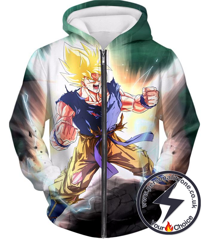 Dragon Ball Super Favourite Hero Goku Super Saiyan 2 Ultimate Anime Action Zip Up Hoodie