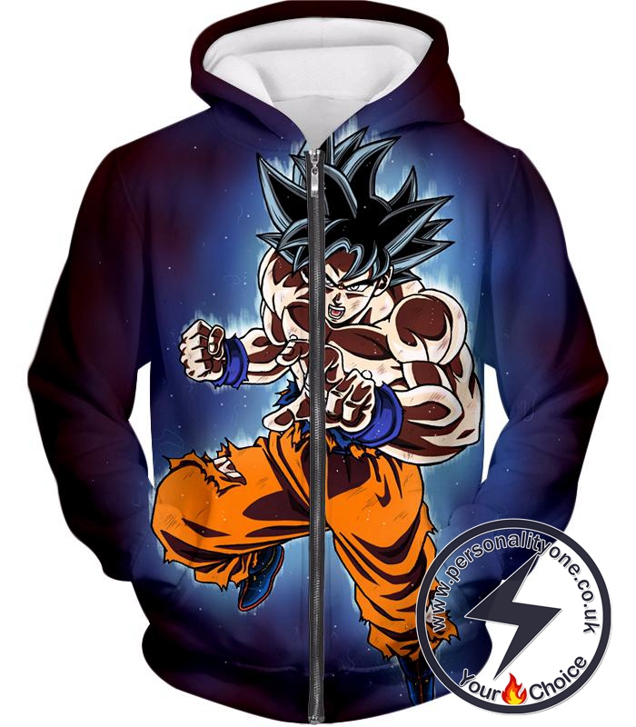 Dragon Ball Super Incredible Goku Ultra Instinct Mode Awesome Action Zip Up Hoodie