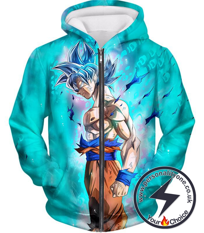 Dragon Ball Super Super Saiyan Blue Goku Ultimate Promo Cool Blue Zip Up Hoodie