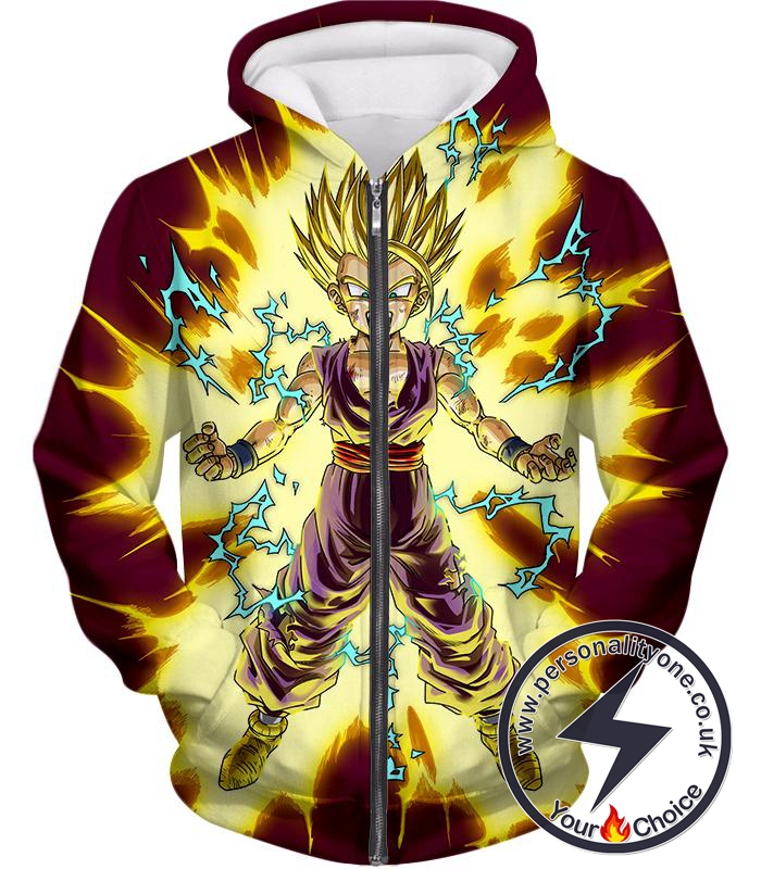 Dragon Ball Super Ultimate Fighter Super Saiyan 2 Gohan Rising Action Anime Zip Up Hoodie