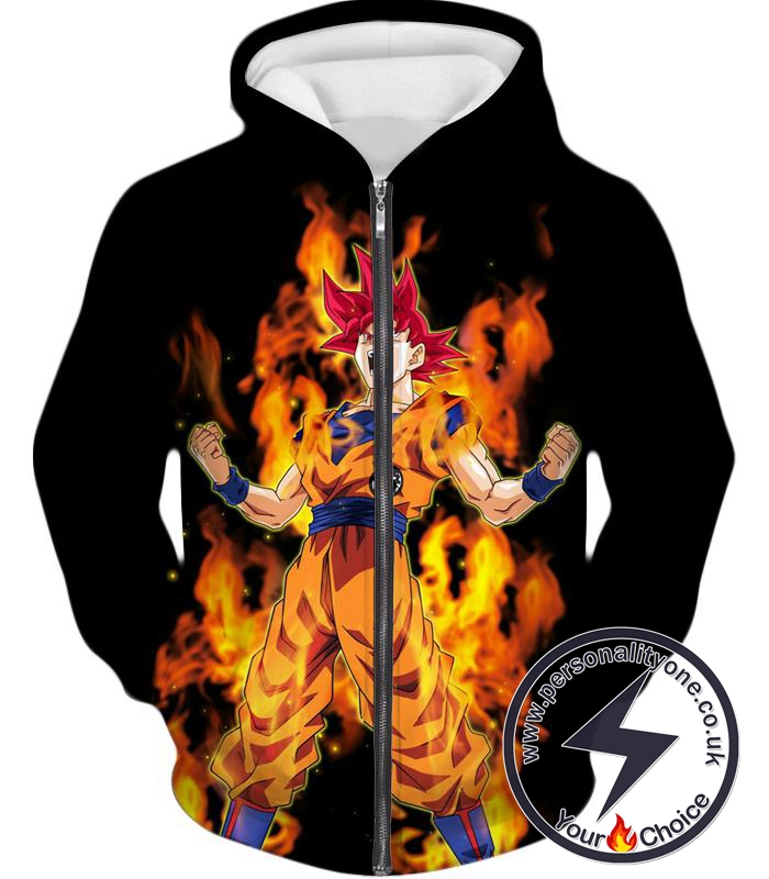 Dragon Ball Z Zip Up Hoodie - Super Saiyan God Red Goku