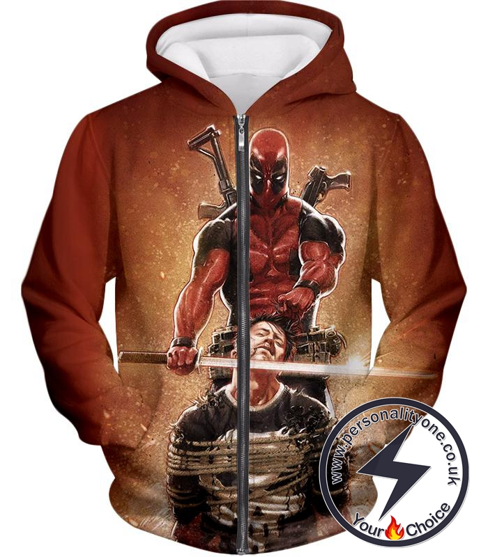 Excellent Mercenary Deadpool Hired to Kill The Punisher Cool Black Action Zip Up Hoodie