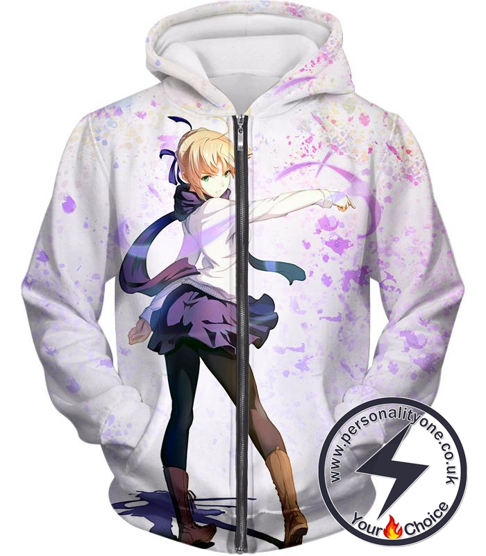 Fate Stay Night Beautiful Blonde Fate Series Saber White Zip Up Hoodie