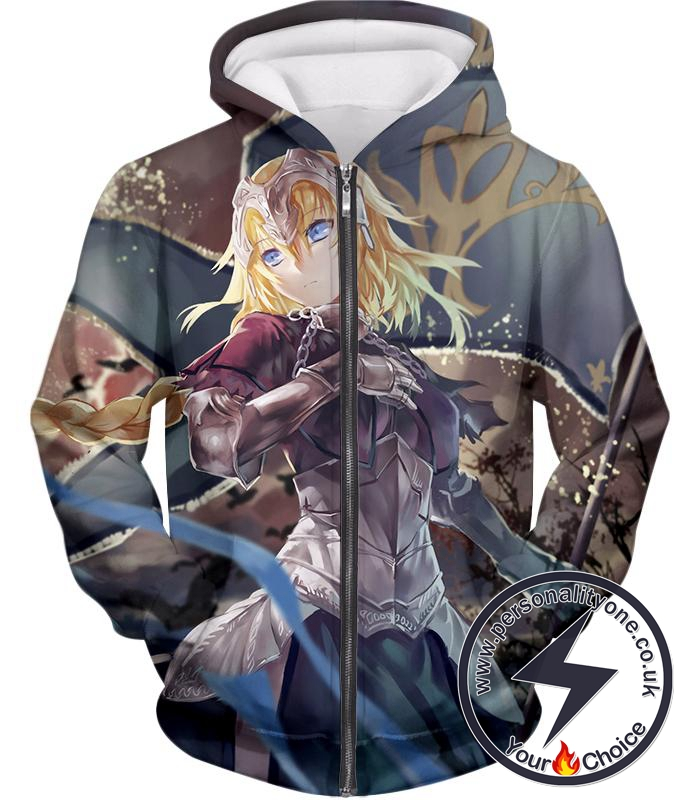 Fate Stay Night Beautiful Legend Joan of Arc Fate Apocrypha Action Zip Up Hoodie