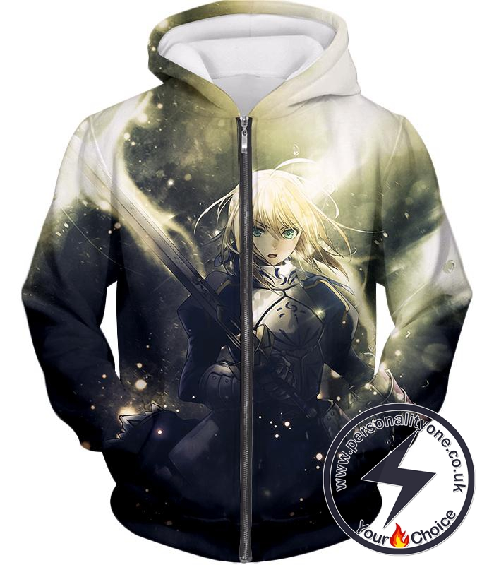 Fate Stay Night Best Fate Series Fighter Saber Arturia Pendragon Zip Up Hoodie