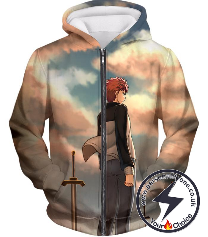 Fate Stay Night Super Cool Hero Shirou Emiya Unlimited Blade Works Zip Up Hoodie