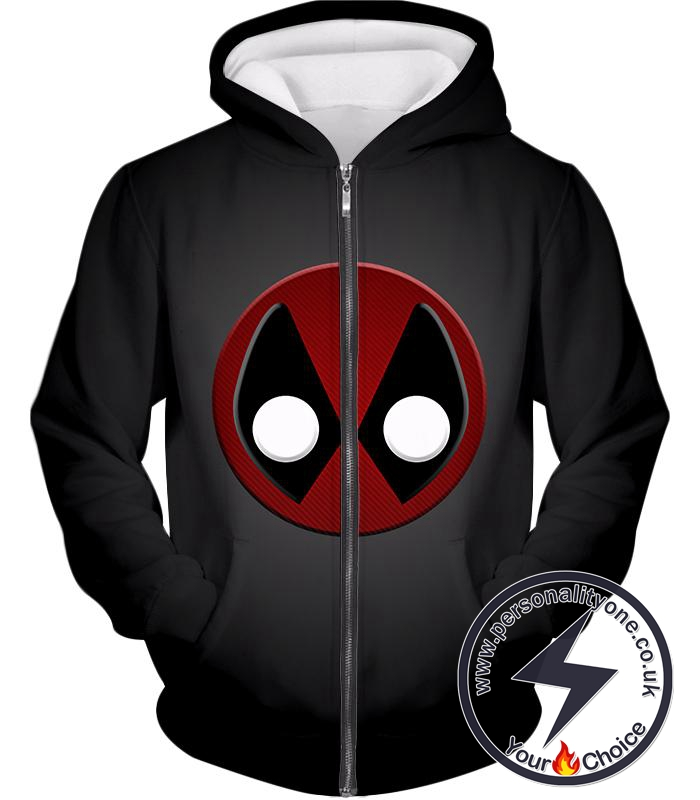 Favourite Deadpool Logo Cool Black Zip Up Hoodie