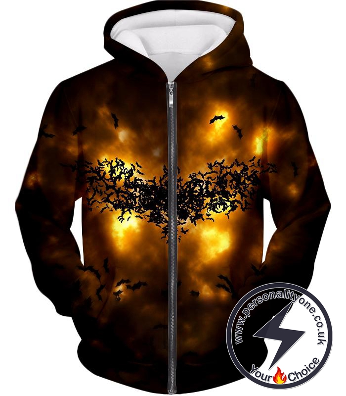 Fearless Hero Symbol Batman Logo Cool Graphic Zip Up Hoodie