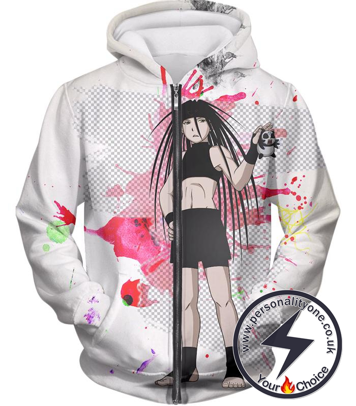 Fullmetal Alchemist Cool Long Haired Homunculi Envy Amazing Anime Promo White Zip Up Hoodie