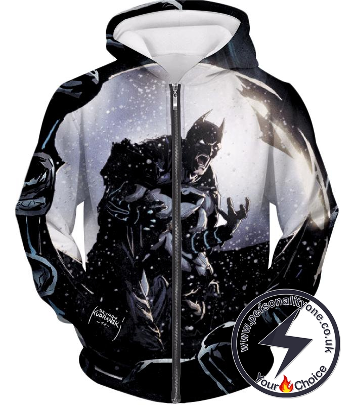 Gothams Ultimate Protector Batman Crazy Graphic Zip Up Hoodie
