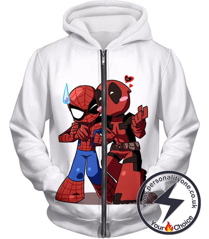 Marvel Heroes Deadpool and Spiderman Funny Figures White Zip Up Hoodie