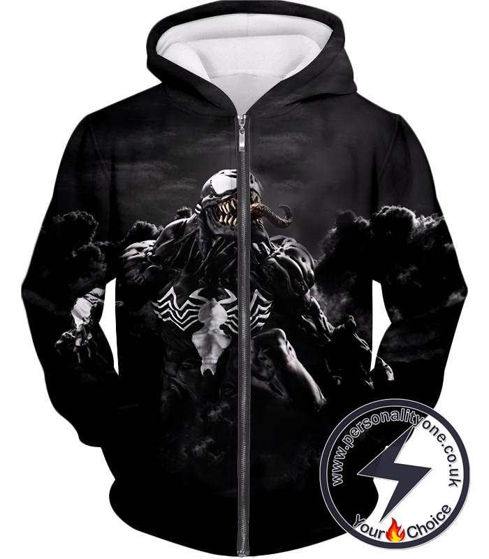 Marvels Dangerous Villain Venom Black Printed Zip Up Hoodie