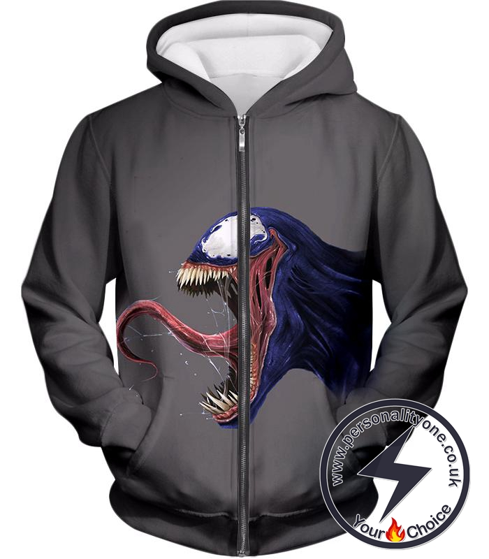 Marvels Venom Grey Animated Zip Up Hoodie