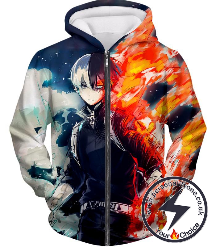 My Hero Academia Blazing Hot and Icy Cold Half Cold Half Hot Shoto Cool Action Zip Up Hoodie
