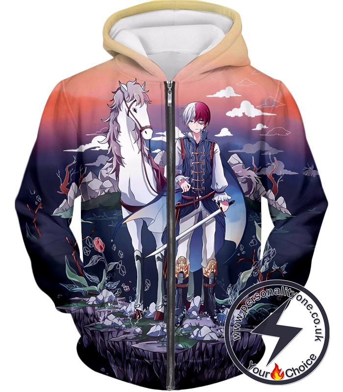 My Hero Academia Fictional Shoto Todoroki Fantasy Anime Promo Graphic Zip Up Hoodie