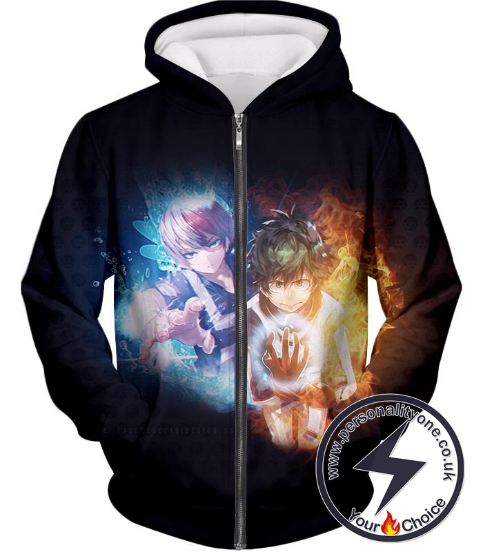 My Hero Academia Izuki and Shoto My Hero Academia Black Promo Zip Up Hoodie