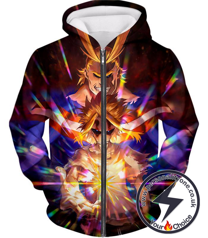 My Hero Academia Number One Hero All Might One for All Holder Cool Anime Graphic Zip Up Hoodie