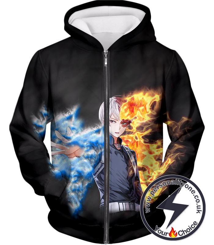 My Hero Academia Shoto Todoroki Quirk Half-Cold Half-Hot Black Zip Up Hoodie