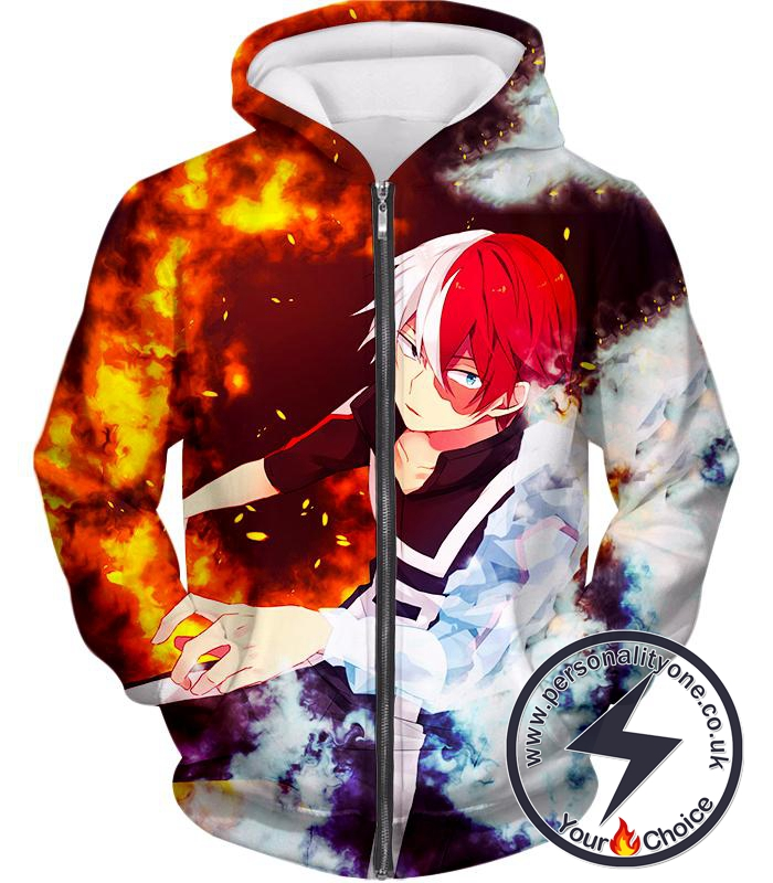 My Hero Academia Super Cool Anime Hero Shoto Todoroki Quirk Half Cold Half Hot Action Zip Up Hoodie