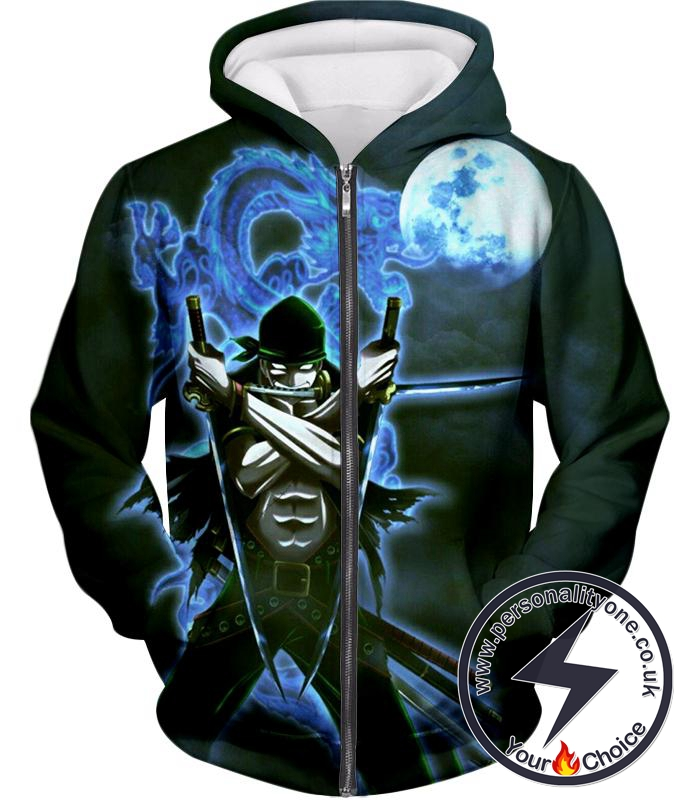 One Piece Best Swordsman Roronoa Zoro Awesome Action Zip Up Hoodie