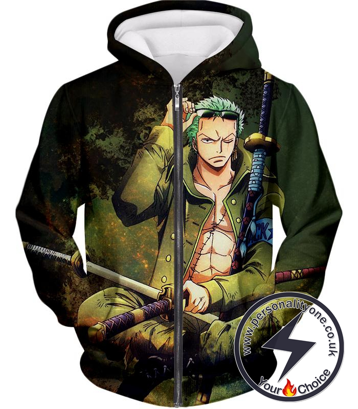 One Piece Cool Straw Hat Pirates First Man Roronoa Zoro Awesome Zip Up Hoodie