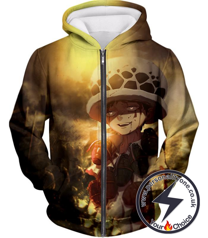 One Piece Painful Past Dying Kid Trafalgar D Law Cool Action Zip Up Hoodie