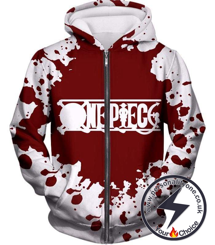 One Piece Super Cool One Piece Anime Promo Logo White Zip Up Hoodie